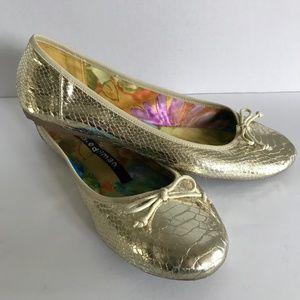 Libby Edelman Ballet Flats Faux Snakeskin Sz10M